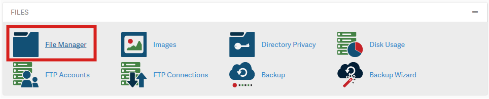 File Manager highlighted from cPanel