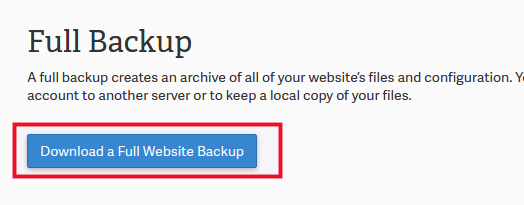 Complete Back Up in cPanel