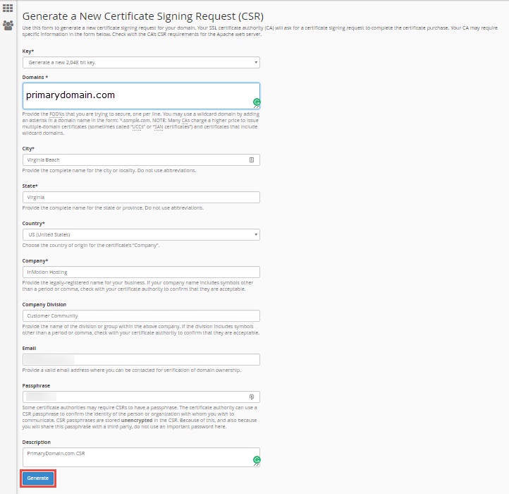 fill out csr fields click generate