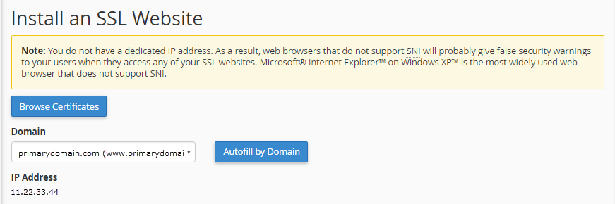 select ssl domain click autofill by domain