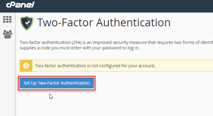 Click button to setup 2-factor authentication