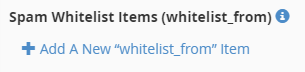 Add A New whitelist_from Item link displayed.