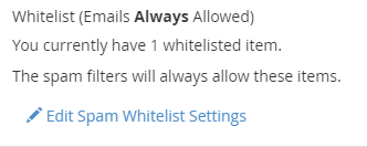 Edit Spam Whitelist Settings link displayed under the Whitelist (Emails Always Allowed) section.