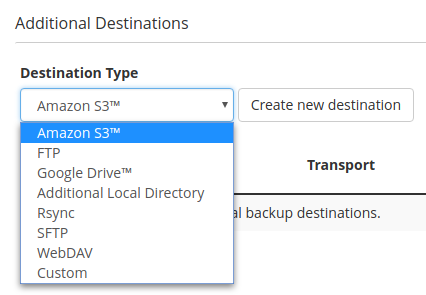WHM external backup options
