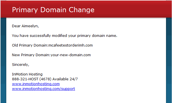 Email verified Change Primary Domain