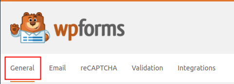 WPForms Settings General Tab highlighted