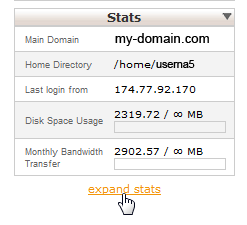 Expand the cPanel Stats