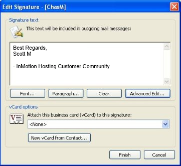 How to create an email signature in outlook 2003 inmotion hosting new signature data reheart