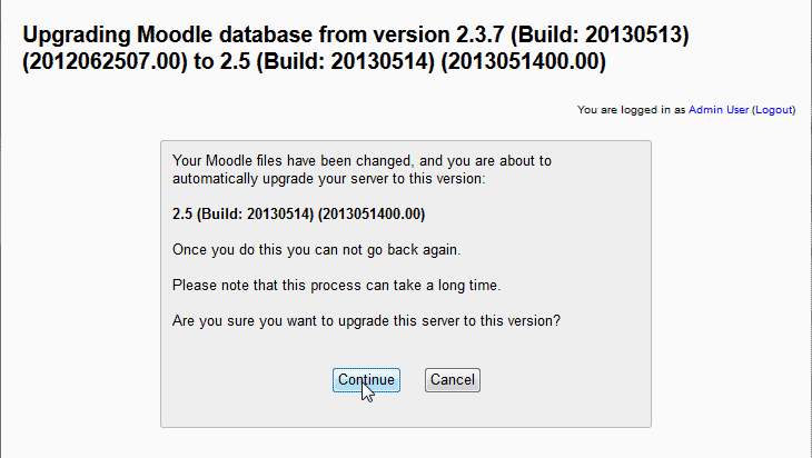 Database Upgrading Moodle