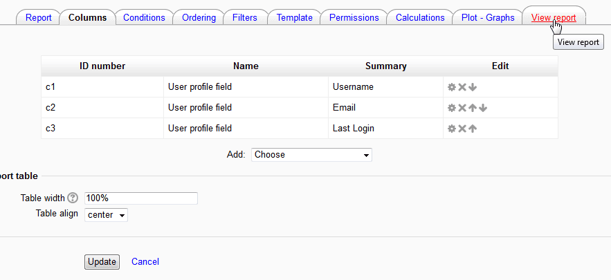 Columns Moodle Configurable reports