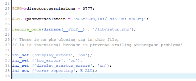 Code view of config.php Moodle
