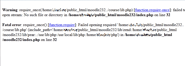 View of PHP errors Moodle
