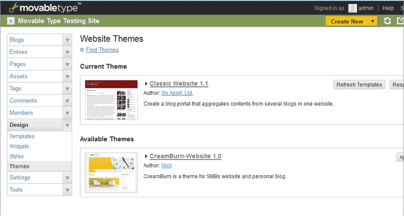 Themes view in Movable Type