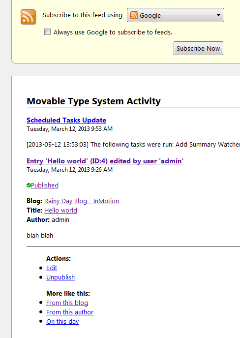Movable Type RSS Activity Log