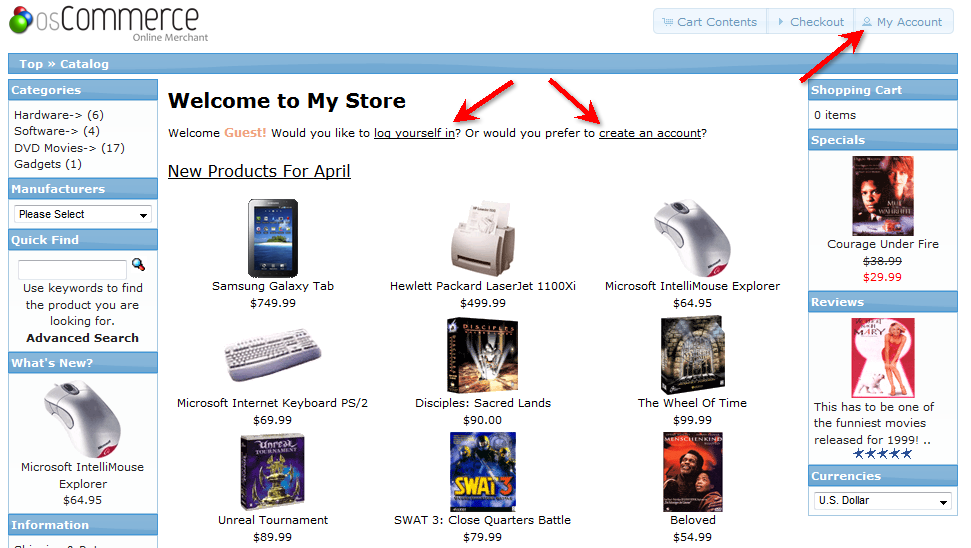 Screen first seen upon logging into your osCommerce site