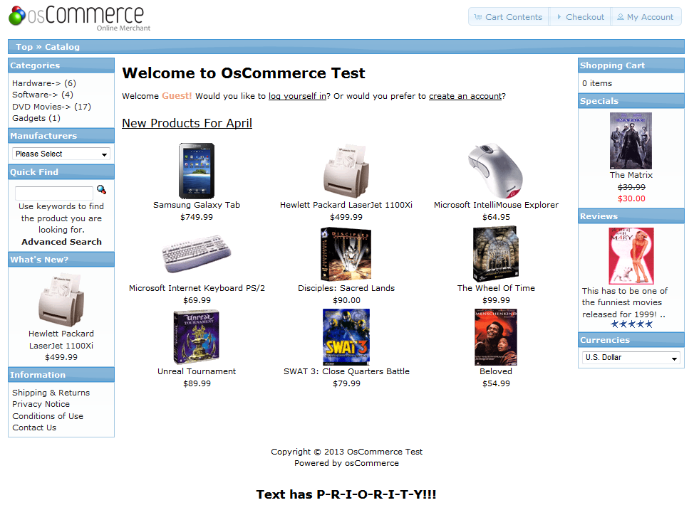 osCommerce store page with text used