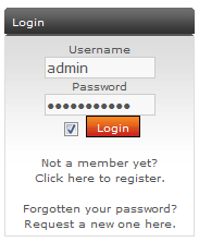 Login section of the PHP-Fusion interface