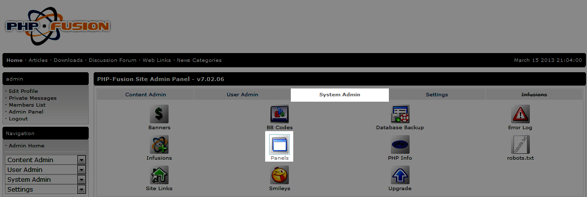 System tab and panels icon