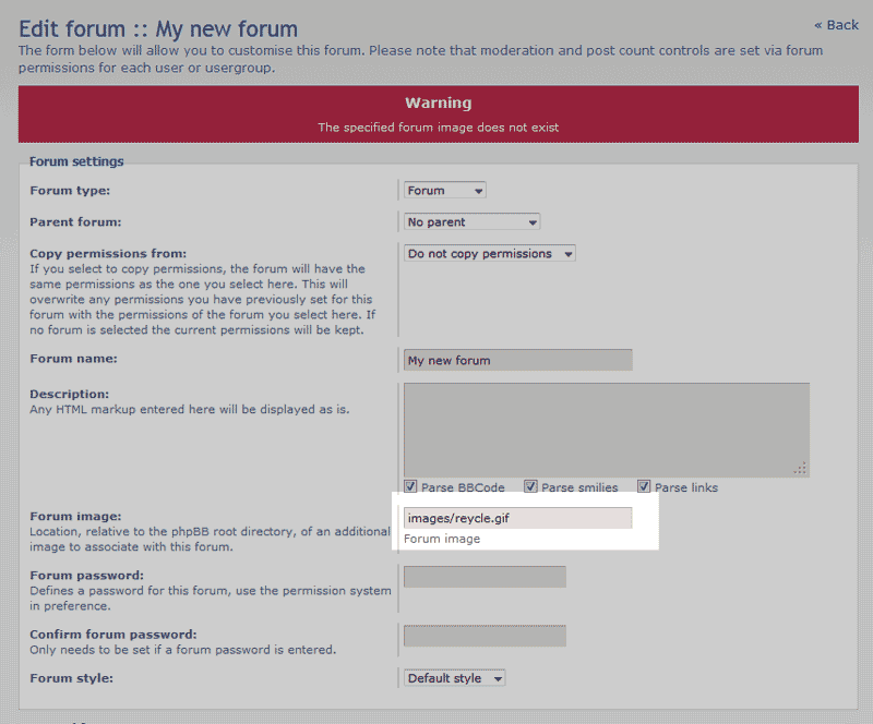 Remove the old image name phpBB