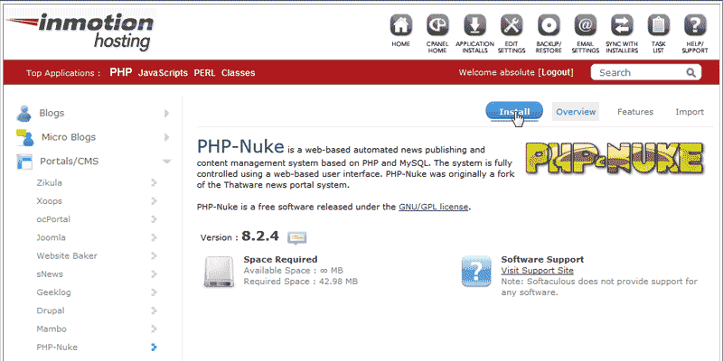 Install PHP-Nuke Softaculous