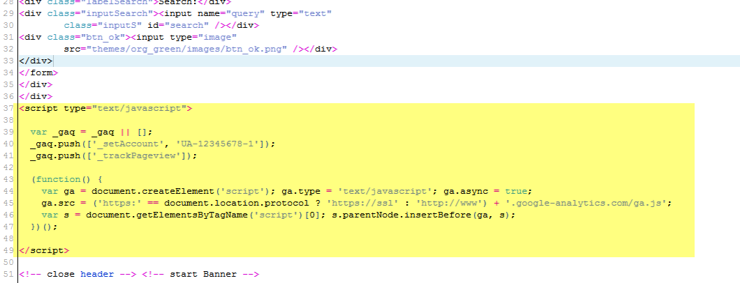Highlighted code indicates Google Analytics code