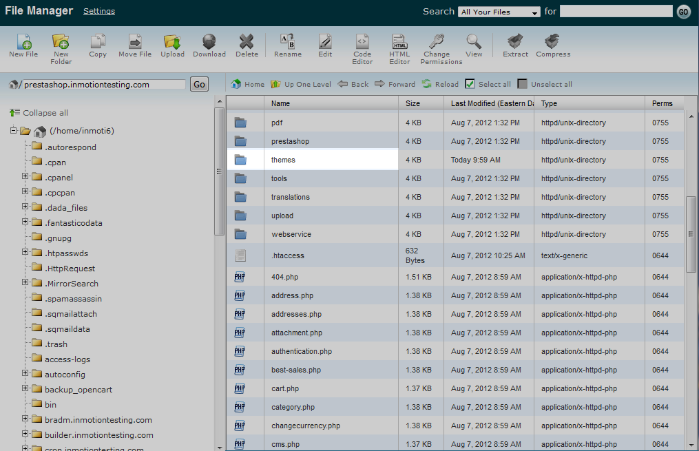 File llisting cPanel File Manager