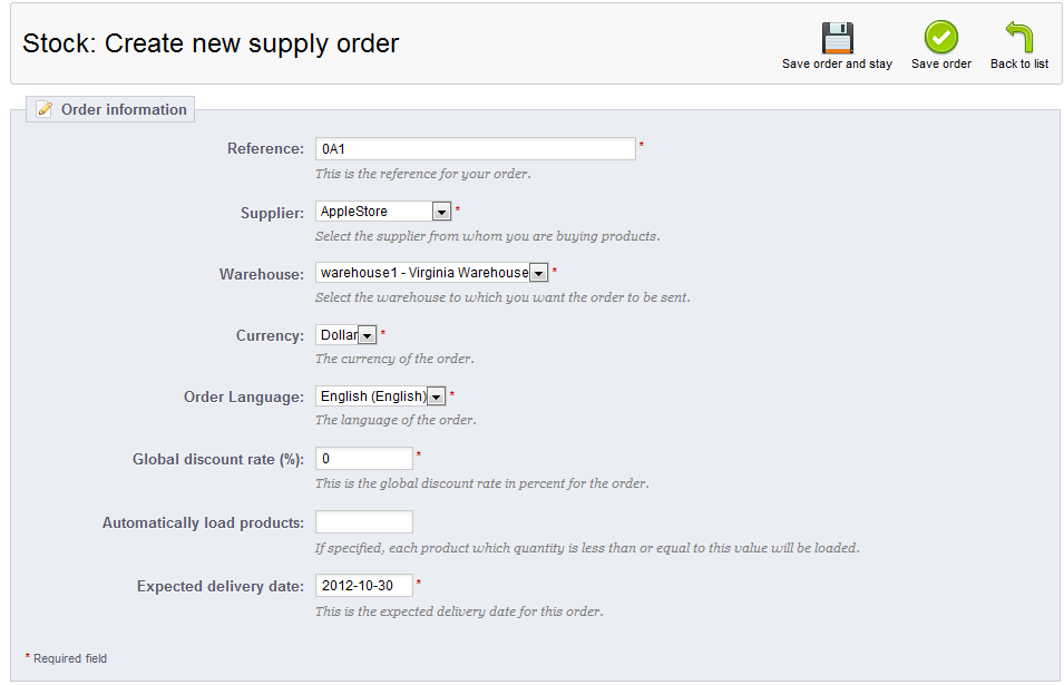 create supply order