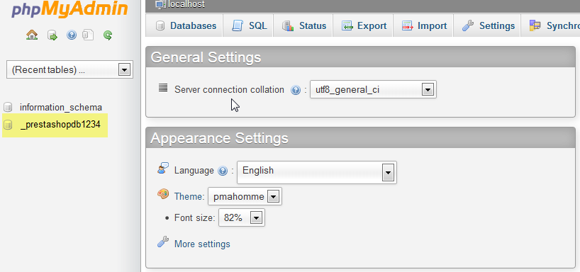 Select Select the database in phpMyAdmin
