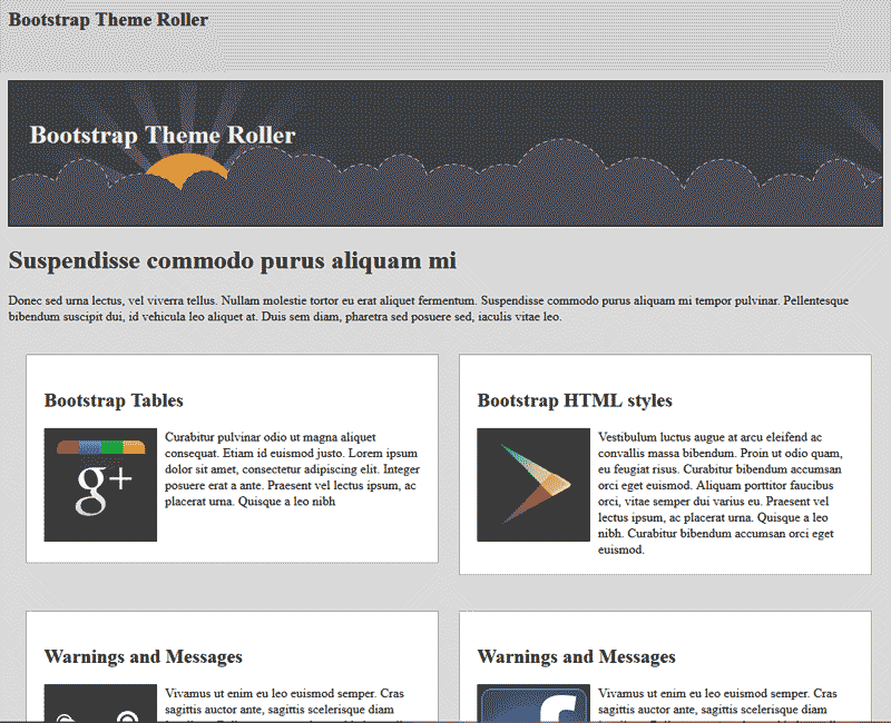 Responsive template with no Bootstrap Theme Roller