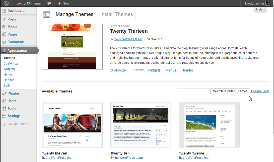Twenty-thirteen theme backend