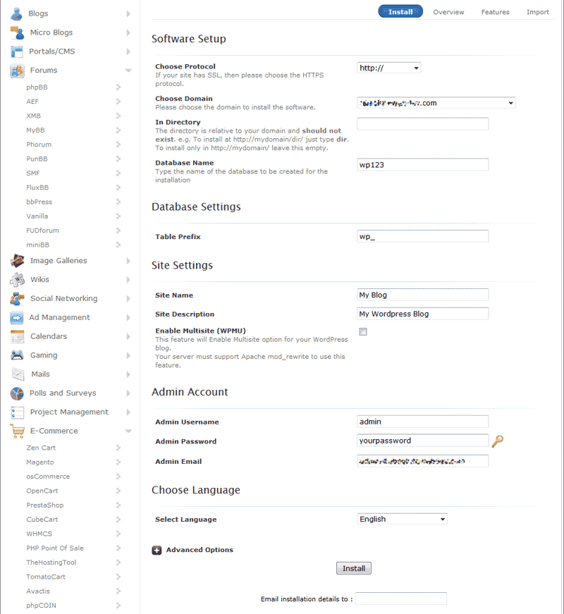 Setup the WordPress in Softaculous in cPanel