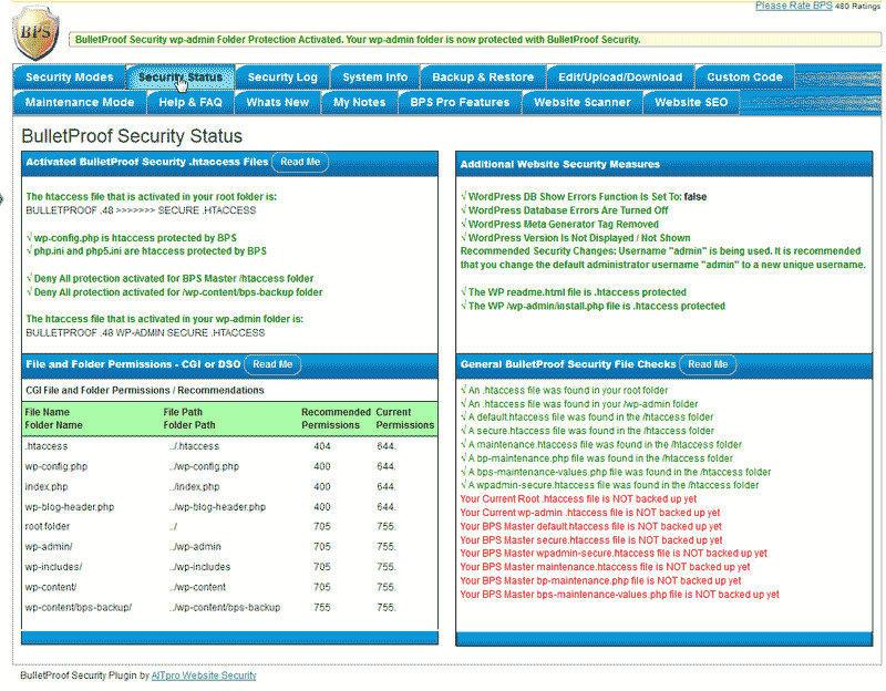 Status page for WordPress BulletProof Security Plugin