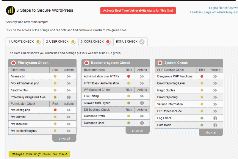 Core Check WordPress MVIS Security Center plugin