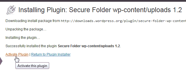 Activate Secure Folder wp-content/uploads plugin for WordPress