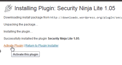 Activate WordPress Security Ninja Lite