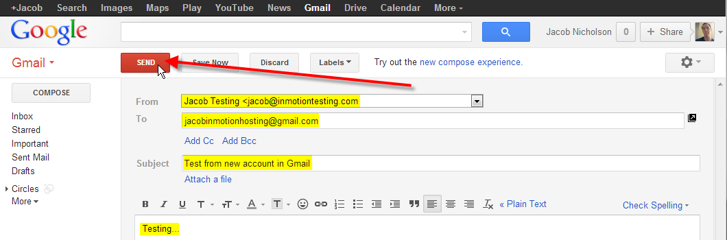 enter in new email click send