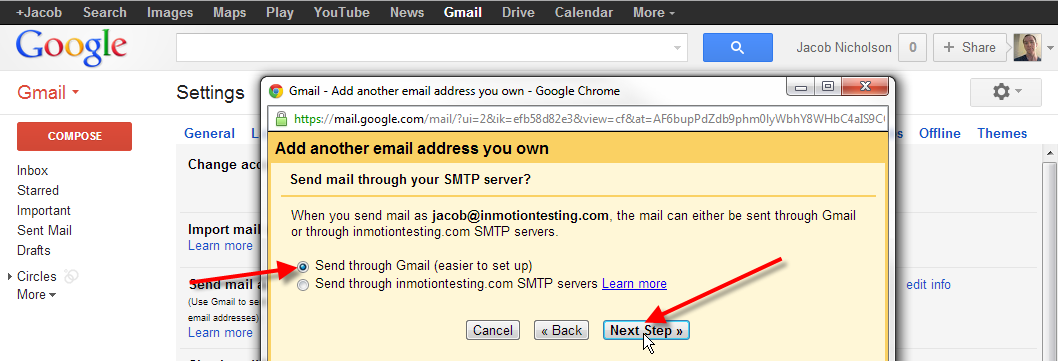 leave send through gmail selected click next step