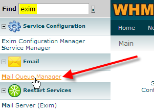 click on mail queue manager in WHM