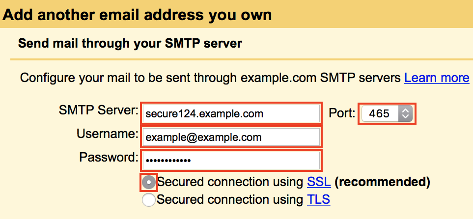 Add email for sending SMTP settings fields highlighted.