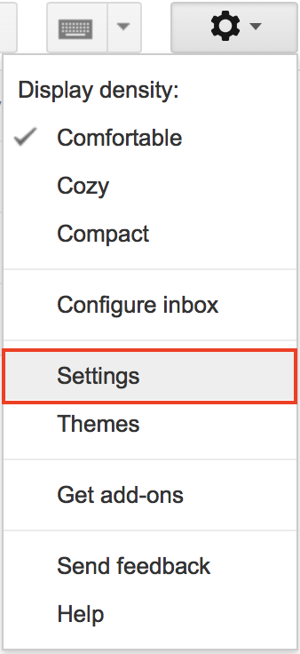 Gmail Settings menu option highlighted.
