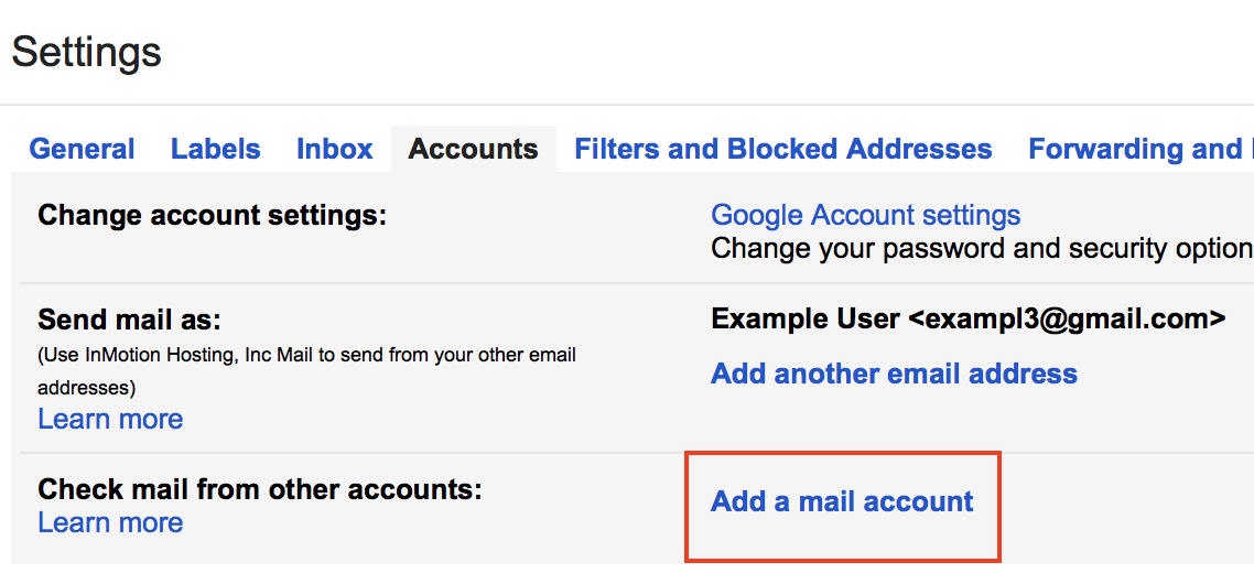 Gmail Settings Accounts Add a mail account link highlighted.