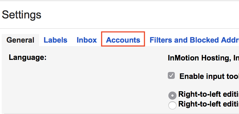 Gmail Settings Accounts tab highlighted.