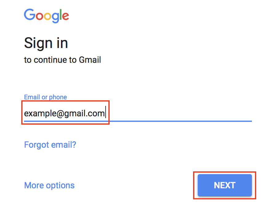 Gmail sign-in screen with email address field and Next button highlighted.