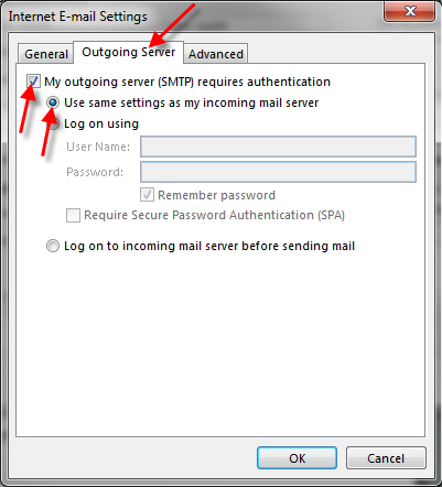 SMTP settings in Outlook 2013