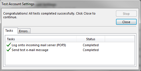 Testing the email settings in outlook 2013