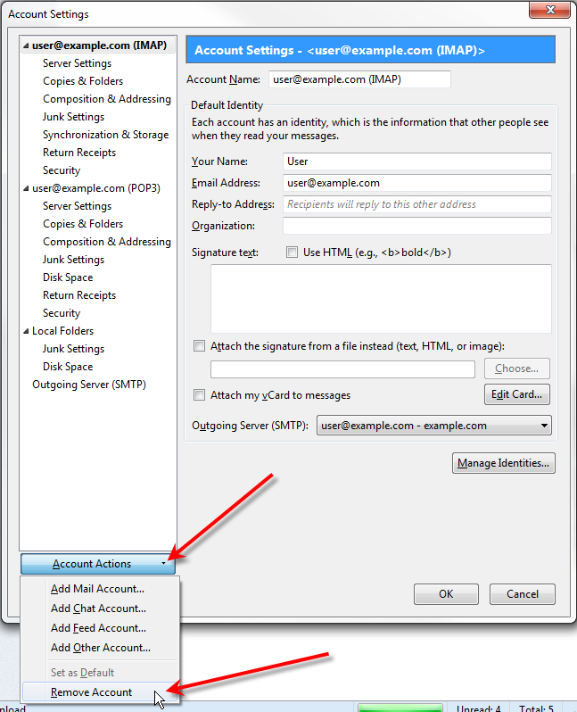 thunderbird account actions remove imap account.png