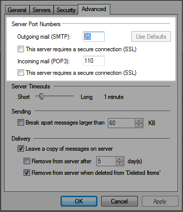 windows settings for email