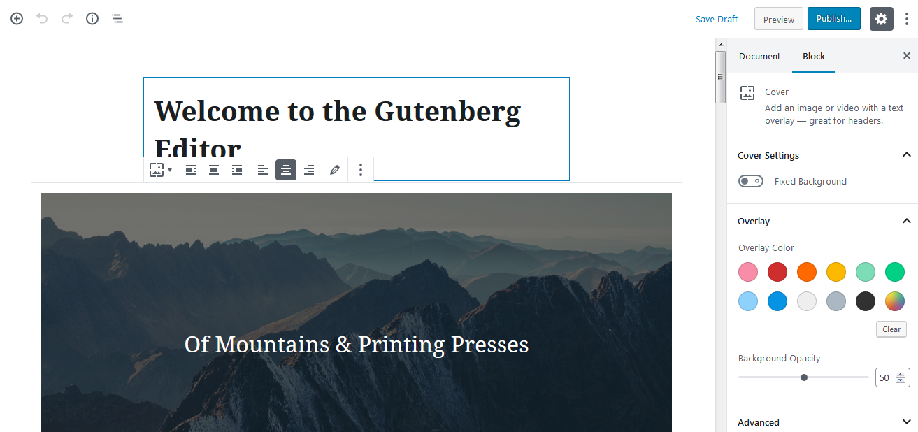 Gutenberg block options