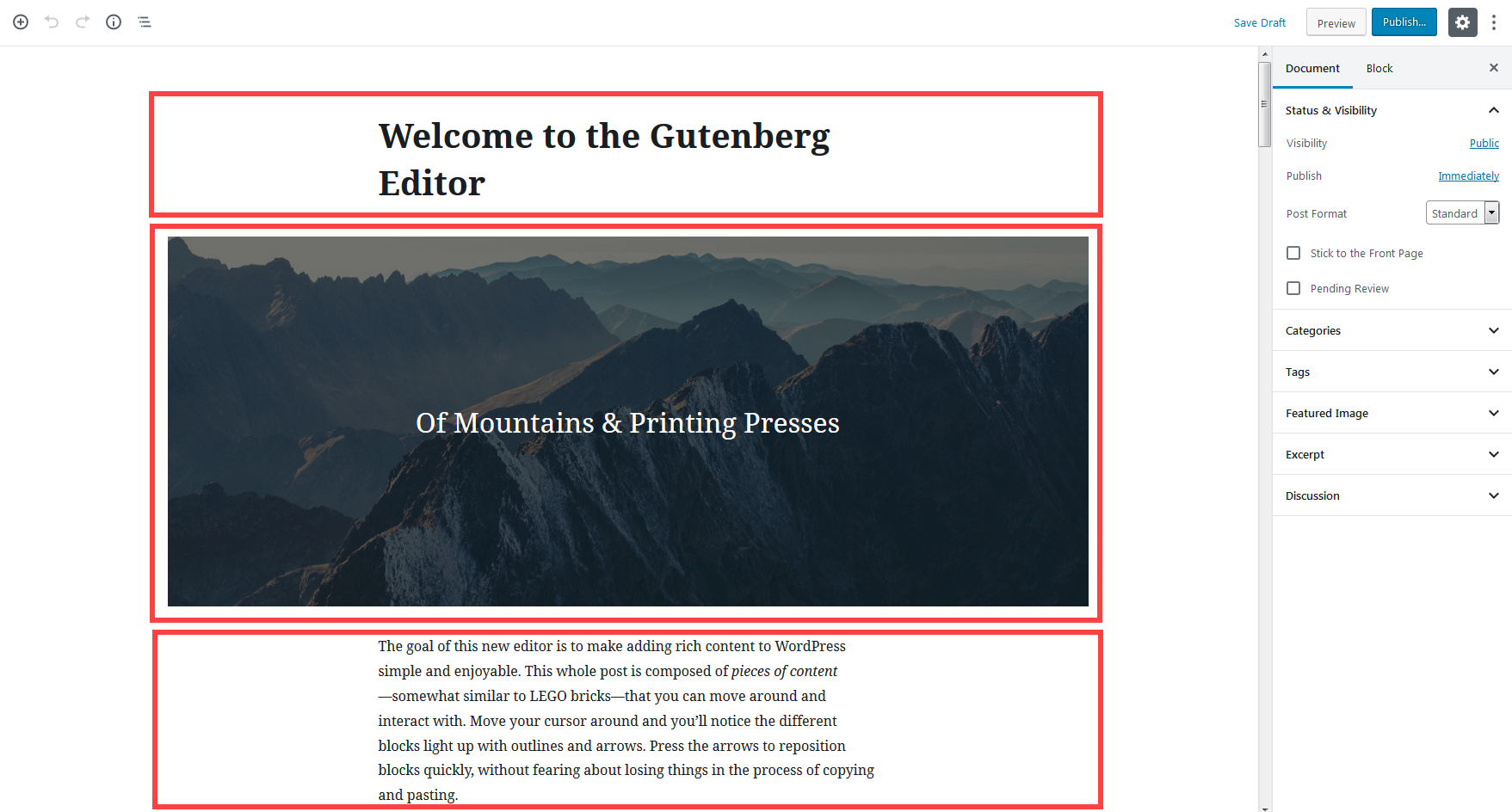 blocks in Gutenberg