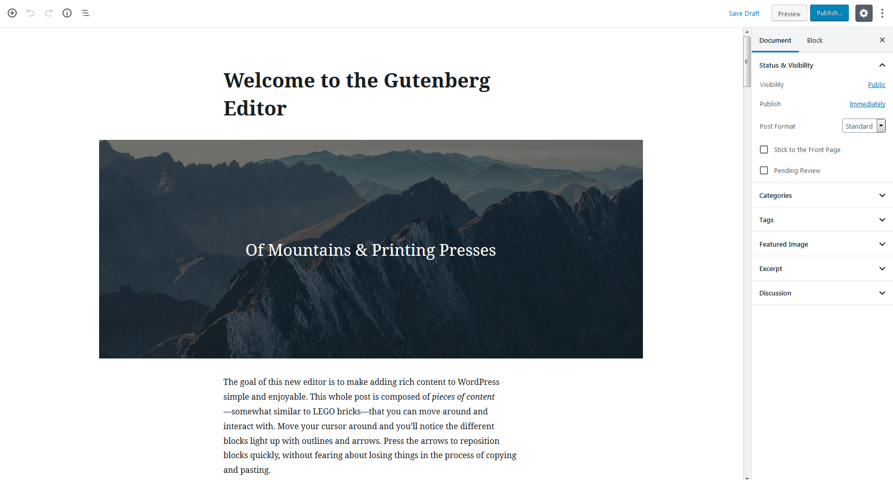 demo of Gutenberg